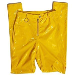 Hera Collection Retro Style Yellow Vinyl Pants M